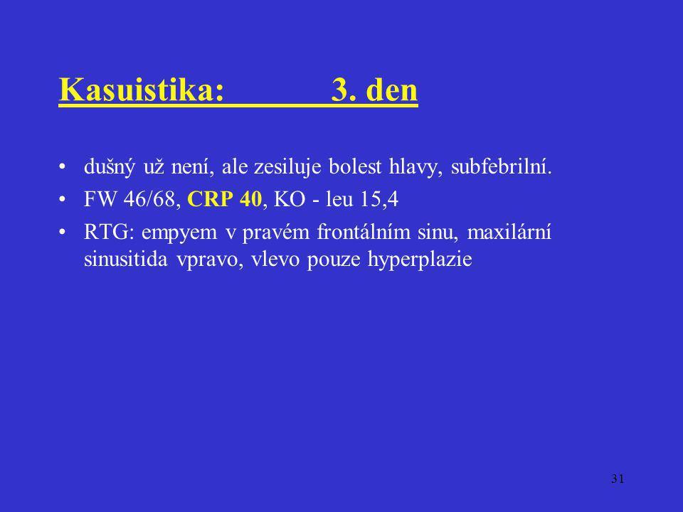 Kasuistika: 3. den dušný už není, ale zesiluje bolest hlavy, subfebrilní. FW 46/68, CRP 40, KO - leu 15,4.