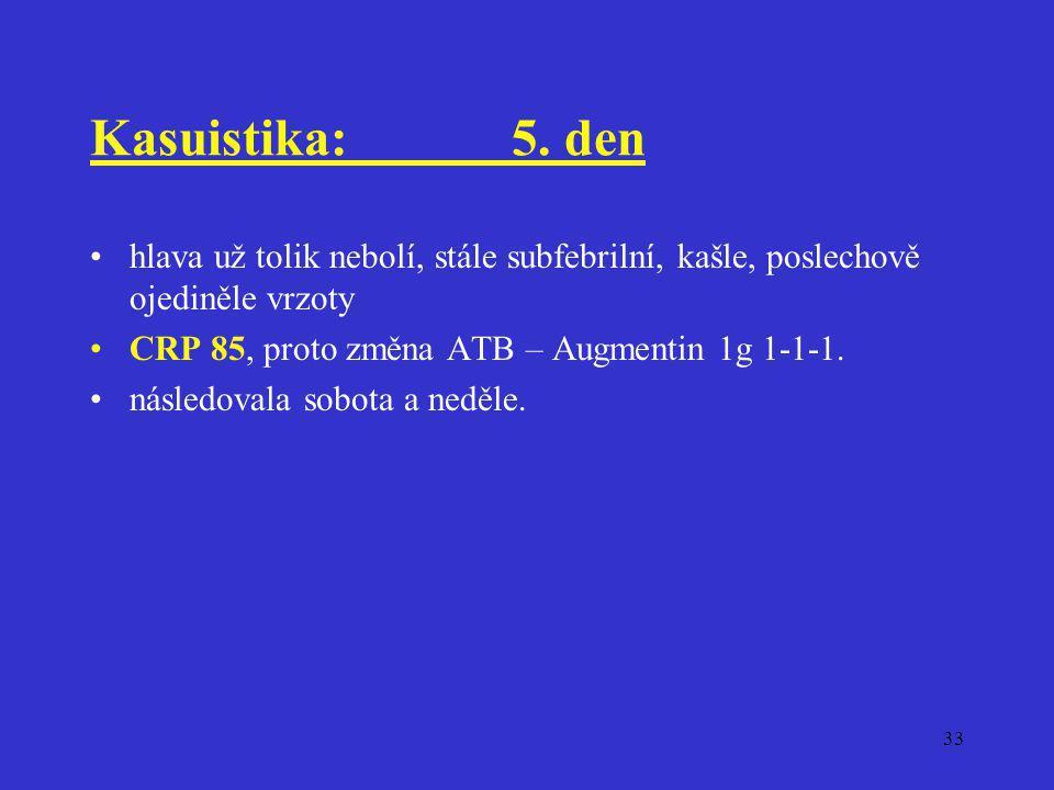 Kasuistika: 5. den hlava už tolik nebolí, stále subfebrilní, kašle, poslechově ojediněle vrzoty. CRP 85, proto změna ATB – Augmentin 1g 1-1-1.