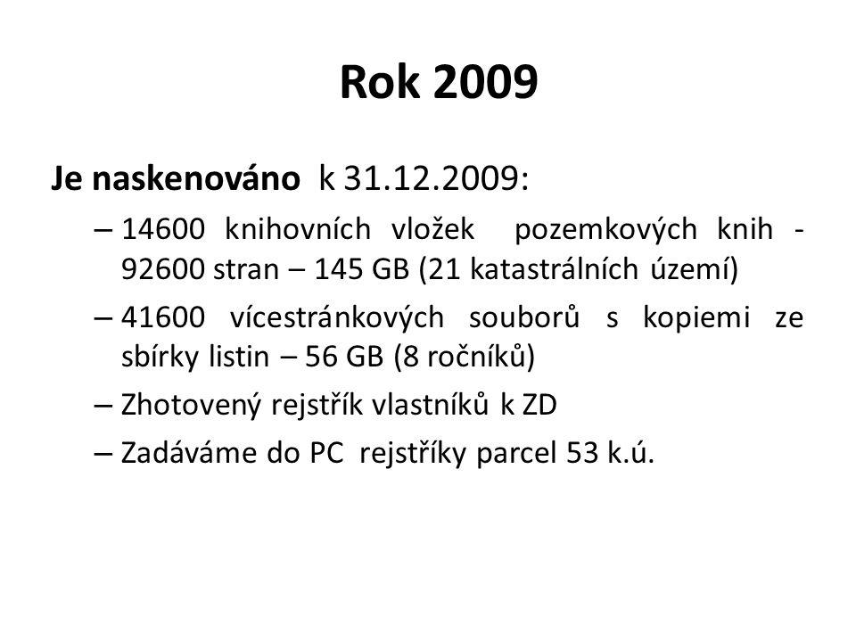 Rok 2009 Je naskenováno k 31.12.2009: 14600 knihovních vložek pozemkových knih - 92600 stran – 145 GB (21 katastrálních území)