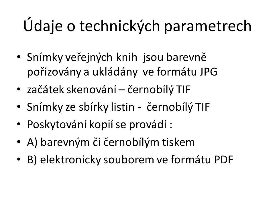 Údaje o technických parametrech
