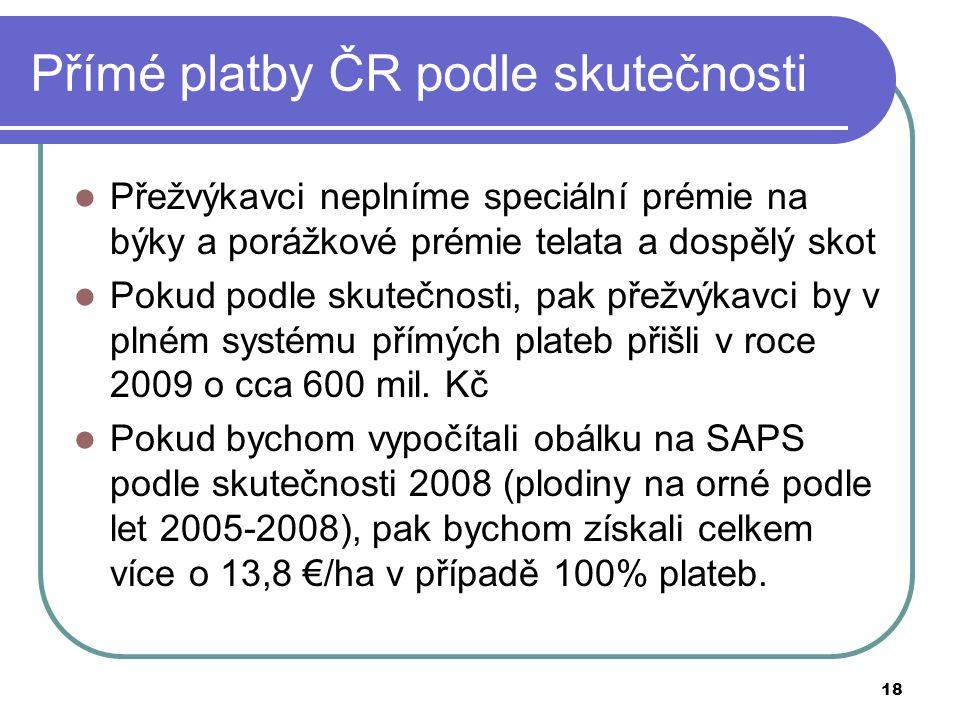 Přímé platby ČR podle skutečnosti