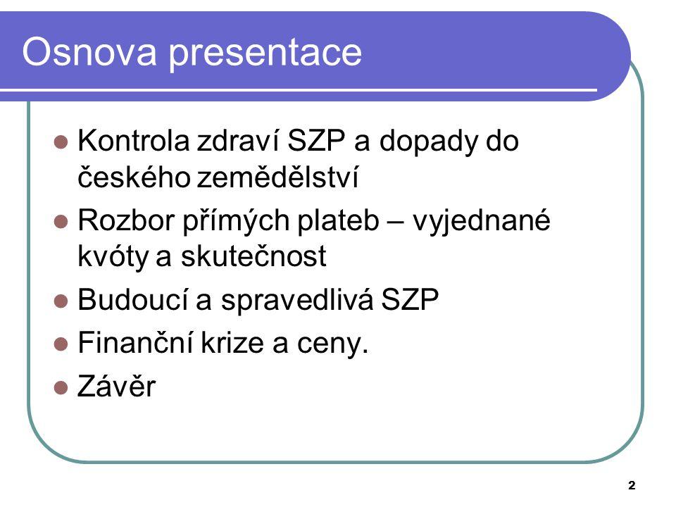 Osnova presentace Kontrola zdraví SZP a dopady do českého zemědělství