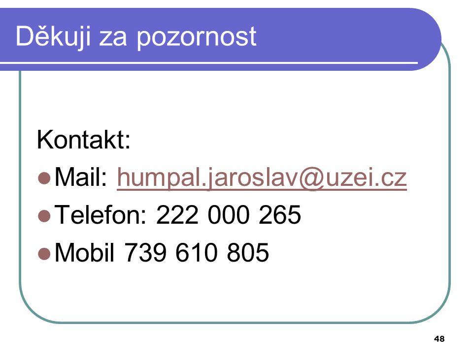 Děkuji za pozornost Kontakt: Mail: humpal.jaroslav@uzei.cz
