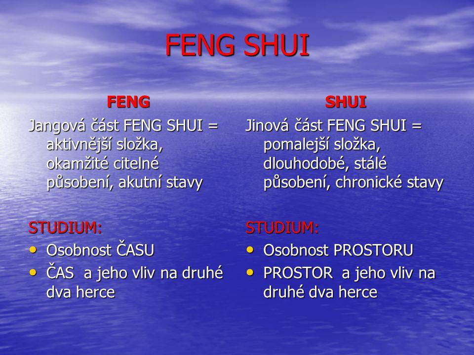 FENG SHUI FENG. SHUI. Jangová část FENG SHUI = aktivnější složka, okamžité citelné působení, akutní stavy.