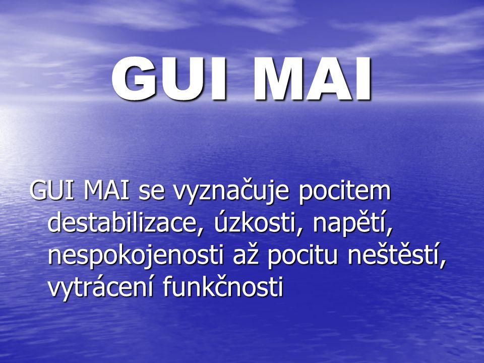 GUI MAI GUI MAI se vyznačuje pocitem destabilizace, úzkosti, napětí, nespokojenosti až pocitu neštěstí, vytrácení funkčnosti.