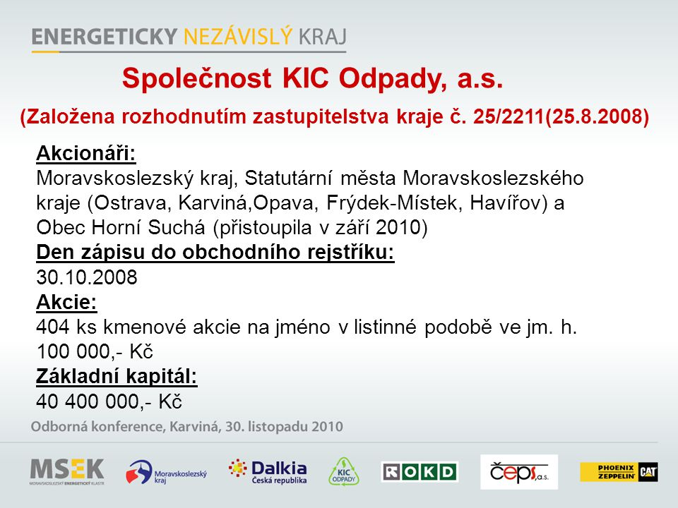 Společnost KIC Odpady, a.s.