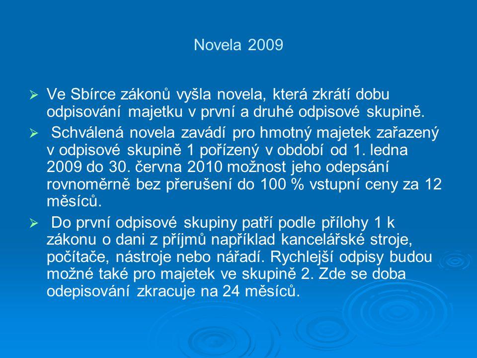 Novela 2009 Ve Sbírce zákonů vyšla novela, která zkrátí dobu odpisování majetku v první a druhé odpisové skupině.