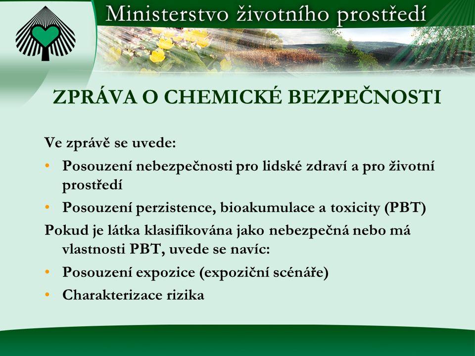 ZPRÁVA O CHEMICKÉ BEZPEČNOSTI