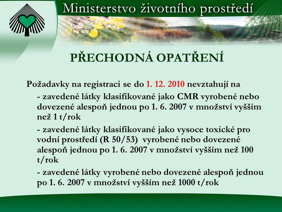 PŘECHODNÁ OPATŘENÍ Požadavky na registraci se do 1. 12. 2010 nevztahují na.