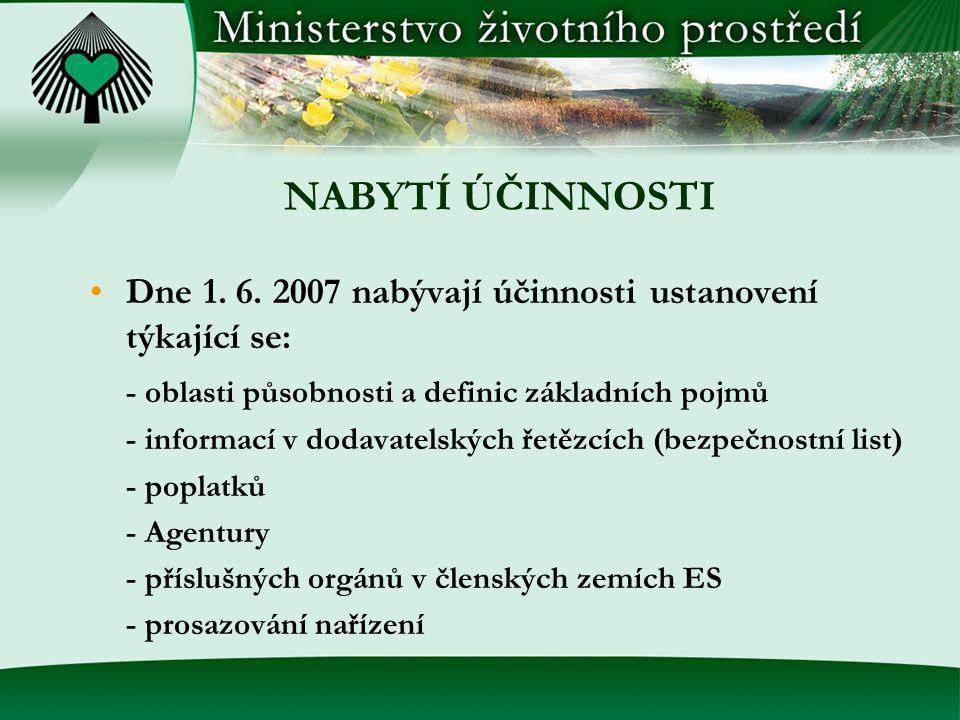 NABYTÍ ÚČINNOSTI Dne 1. 6. 2007 nabývají účinnosti ustanovení týkající se: - oblasti působnosti a definic základních pojmů.