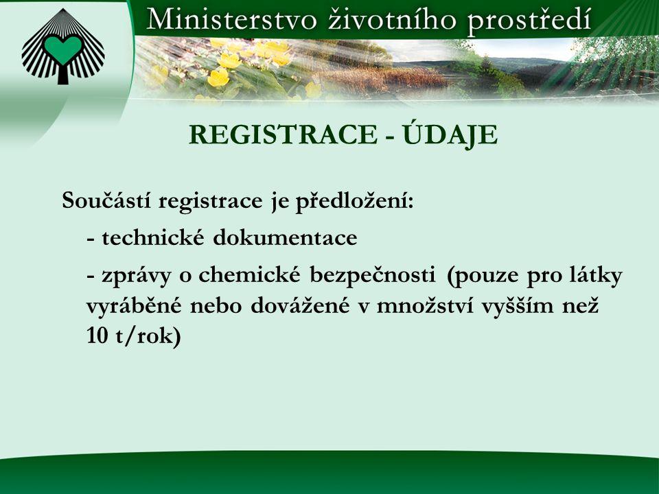 REGISTRACE - ÚDAJE Součástí registrace je předložení: