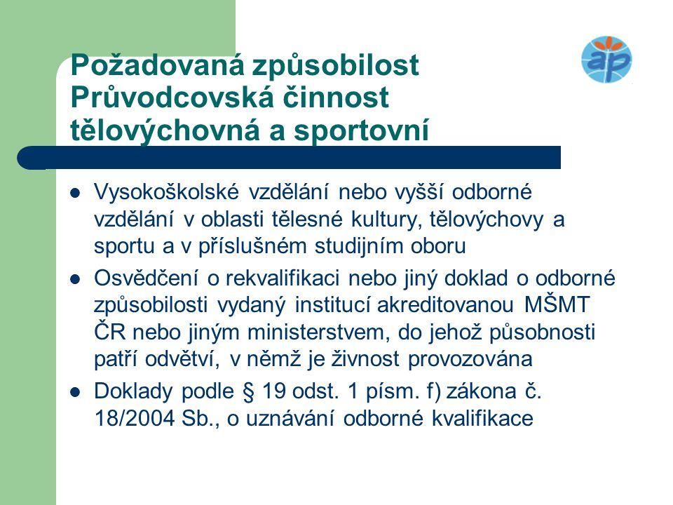 Požadovaná způsobilost Průvodcovská činnost tělovýchovná a sportovní