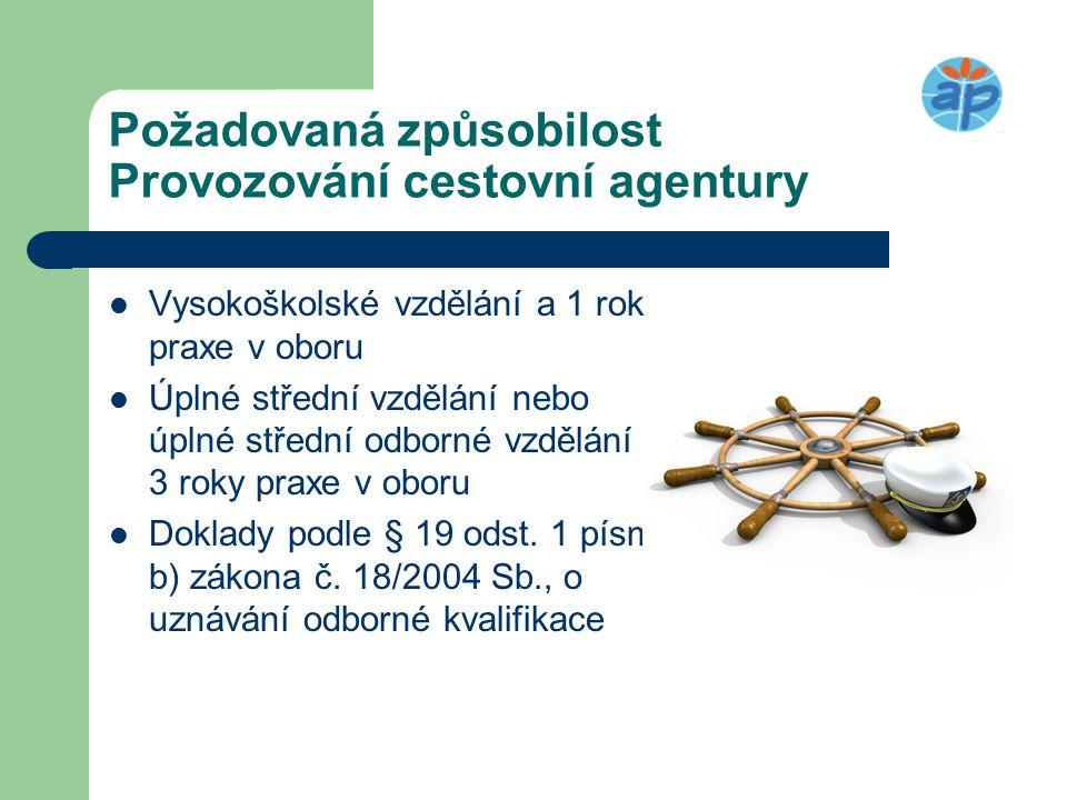 Požadovaná způsobilost Provozování cestovní agentury