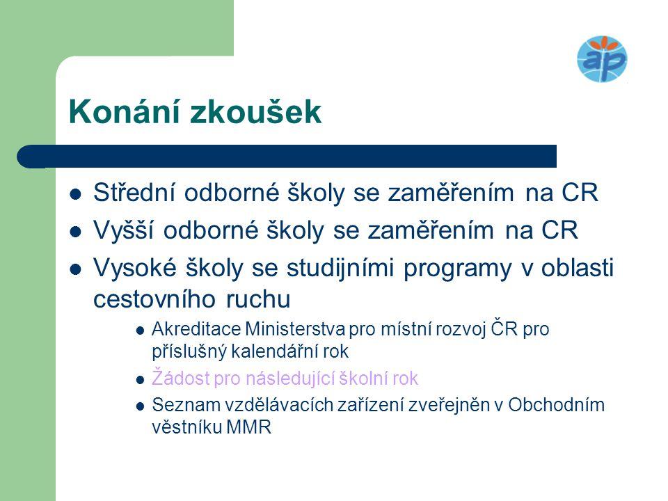 Konání zkoušek Střední odborné školy se zaměřením na CR
