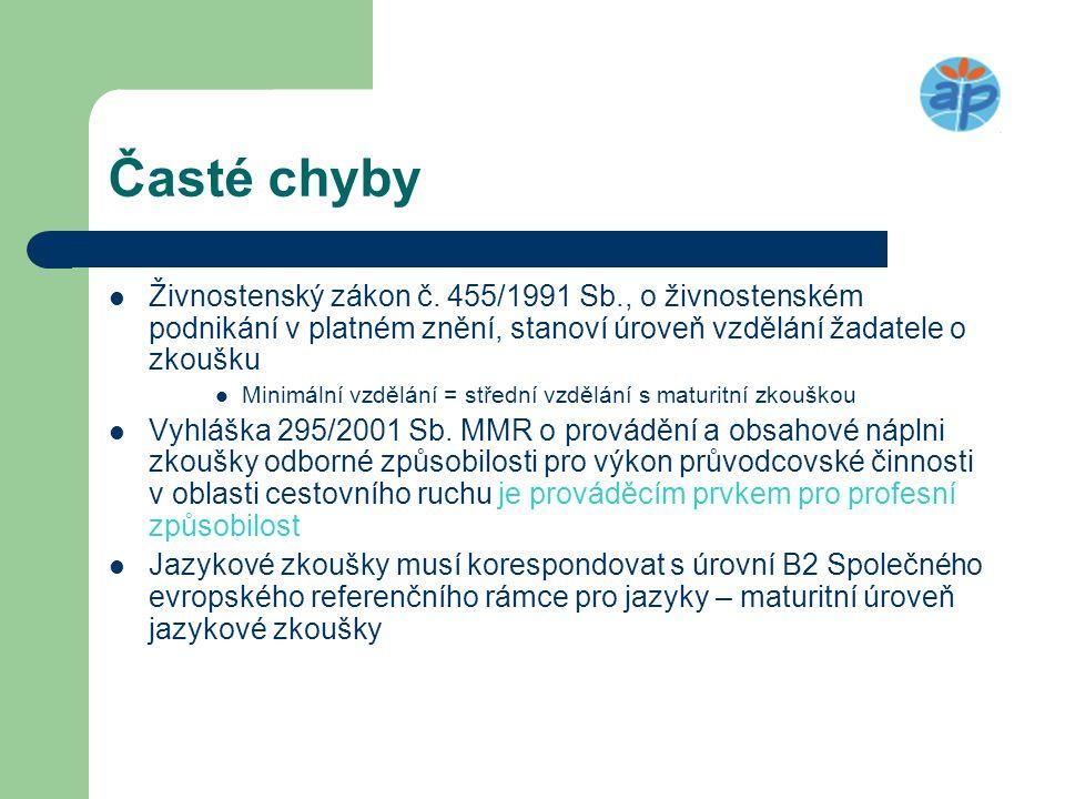 Časté chyby Živnostenský zákon č. 455/1991 Sb., o živnostenském podnikání v platném znění, stanoví úroveň vzdělání žadatele o zkoušku.