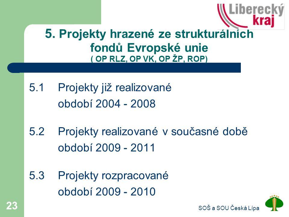5. Projekty hrazené ze strukturálních fondů Evropské unie ( OP RLZ, OP VK, OP ŽP, ROP)