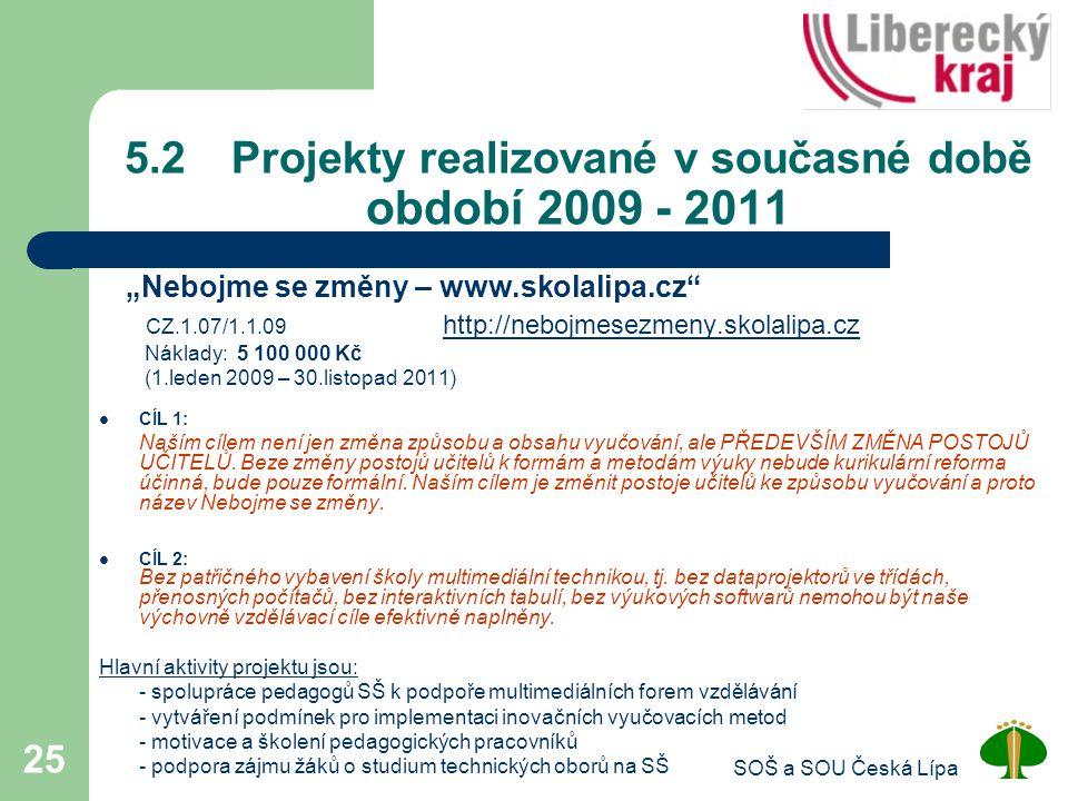 5.2 Projekty realizované v současné době období 2009 - 2011