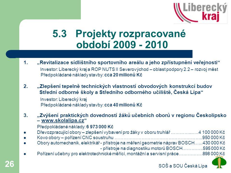 5.3 Projekty rozpracované období 2009 - 2010