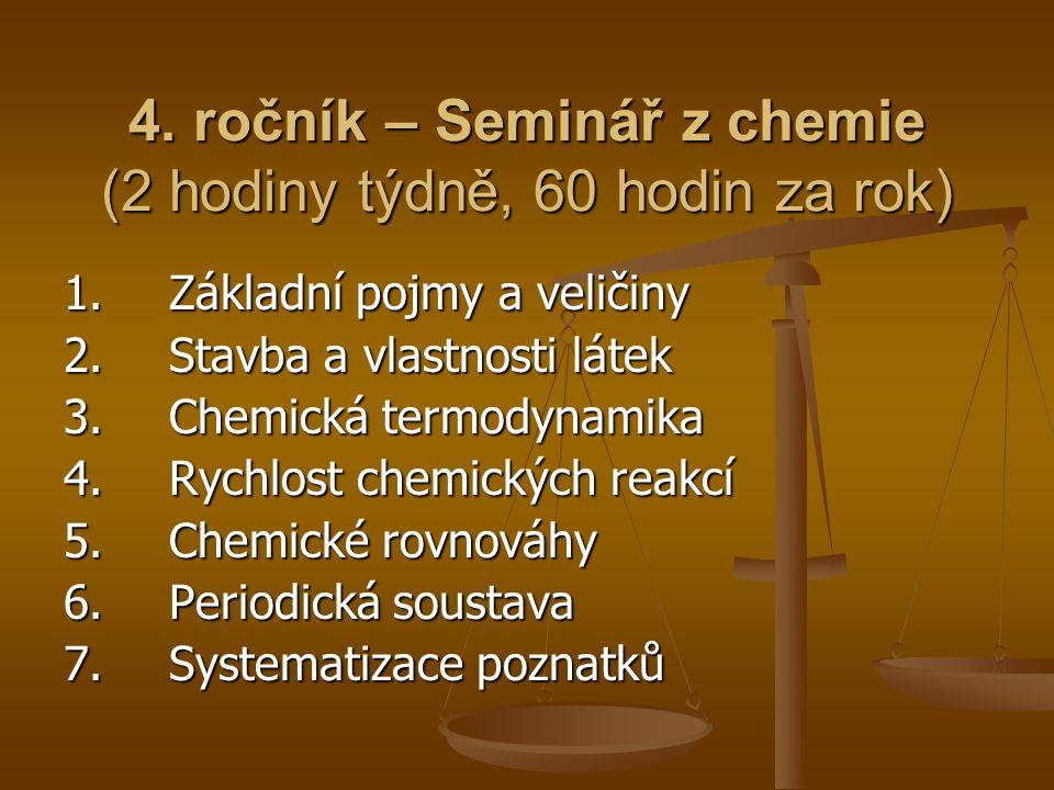 4. ročník – Seminář z chemie (2 hodiny týdně, 60 hodin za rok)