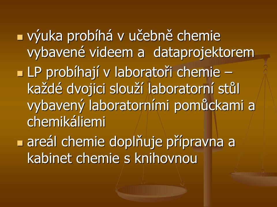 výuka probíhá v učebně chemie vybavené videem a dataprojektorem