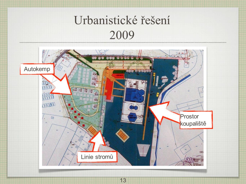 Urbanistické řešení 2009 V Autokemp Prostor koupaliště Linie stromů