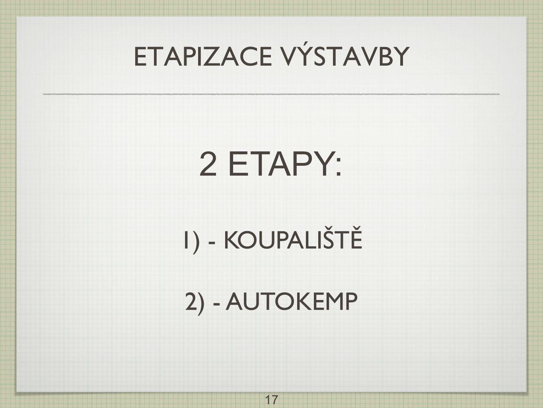 ETAPIZACE VÝSTAVBY 2 ETAPY: 1) - KOUPALIŠTĚ 2) - AUTOKEMP