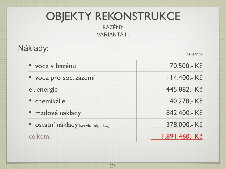 OBJEKTY REKONSTRUKCE Náklady: voda v bazénu 70.500,- Kč
