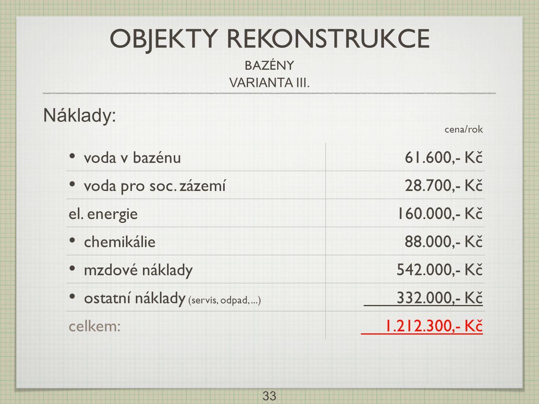 OBJEKTY REKONSTRUKCE Náklady: voda v bazénu 61.600,- Kč