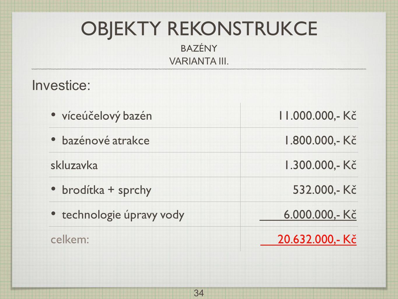 OBJEKTY REKONSTRUKCE Investice: víceúčelový bazén 11.000.000,- Kč