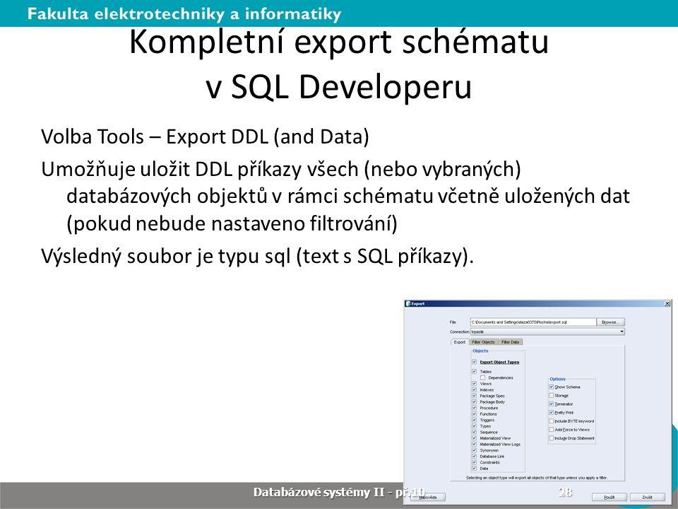Kompletní export schématu v SQL Developeru