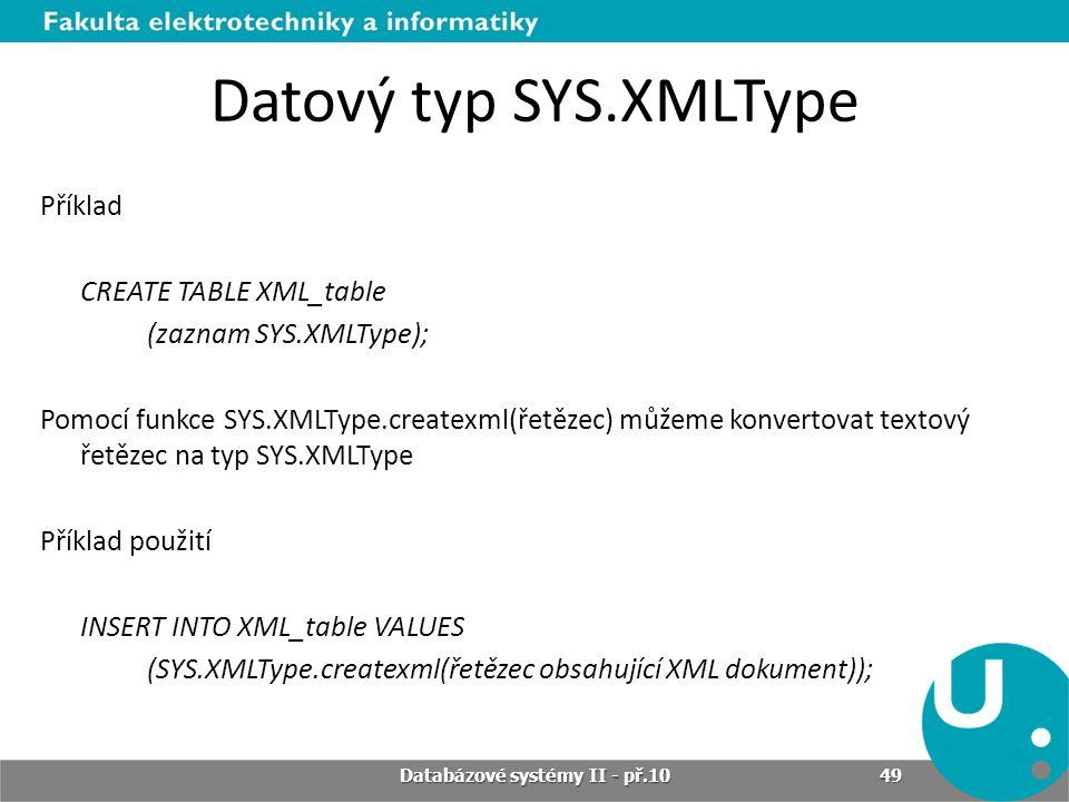 Databázové systémy II - př.10