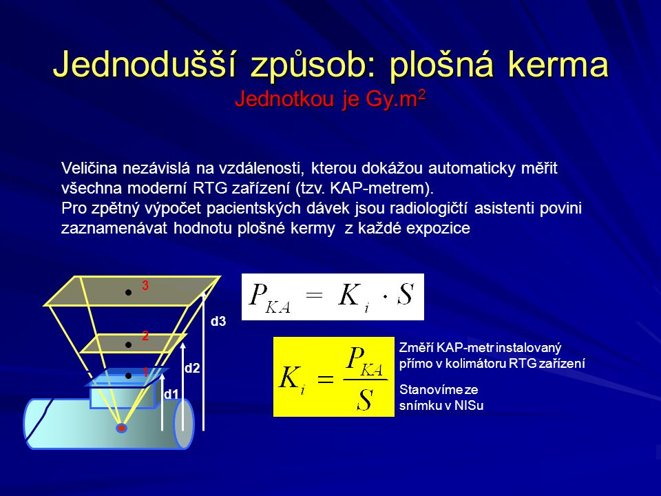 Jednodušší způsob: plošná kerma Jednotkou je Gy.m2