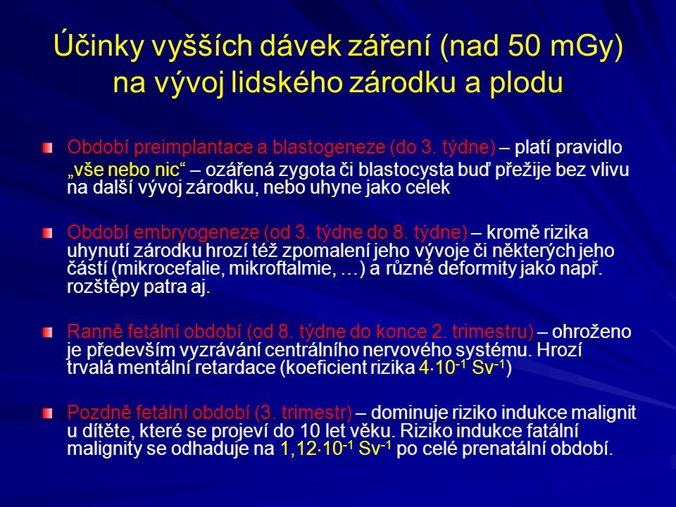 Účinky vyšších dávek záření (nad 50 mGy) na vývoj lidského zárodku a plodu