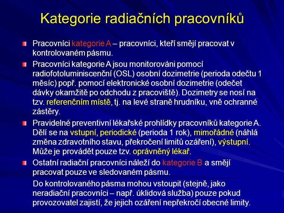 Kategorie radiačních pracovníků