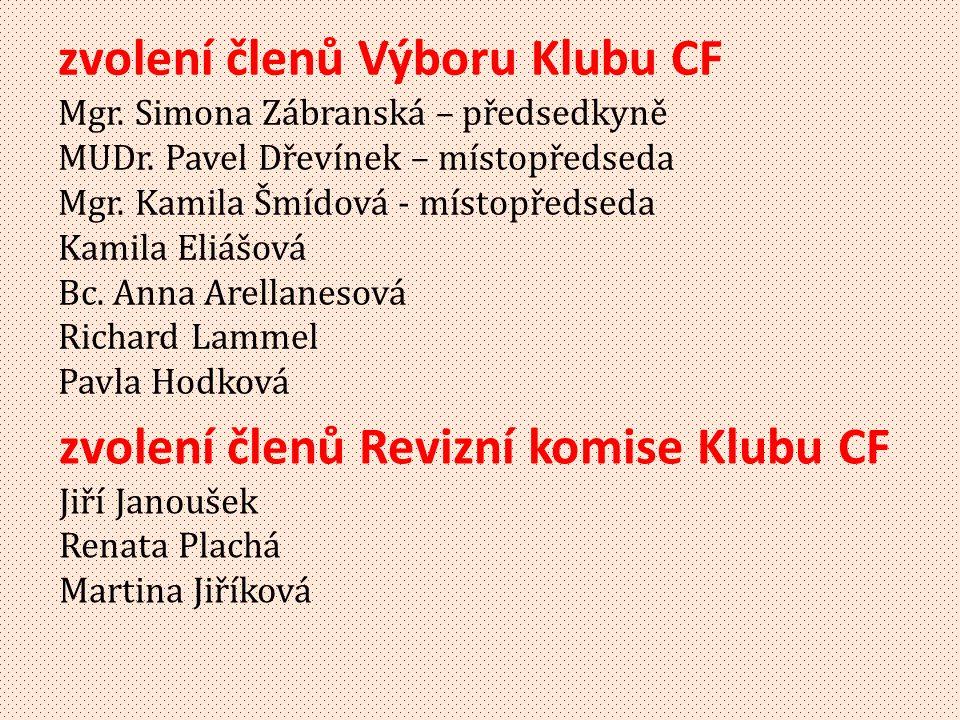 zvolení členů Revizní komise Klubu CF