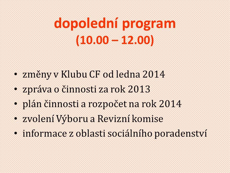 dopolední program (10.00 – 12.00) změny v Klubu CF od ledna 2014
