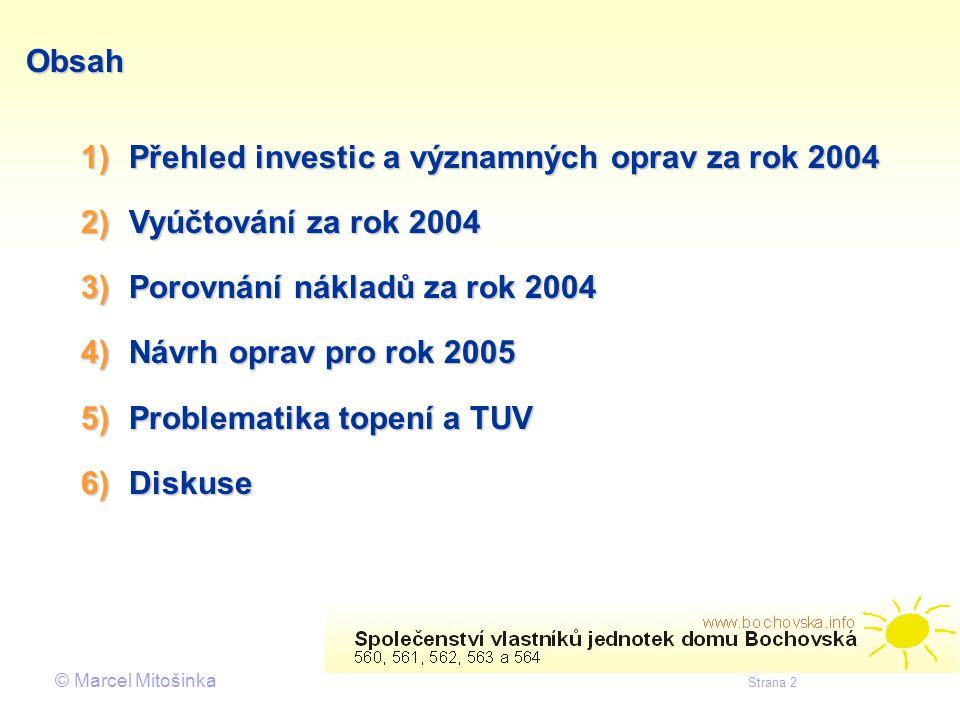 Obsah Přehled investic a významných oprav za rok 2004. Vyúčtování za rok 2004. Porovnání nákladů za rok 2004.
