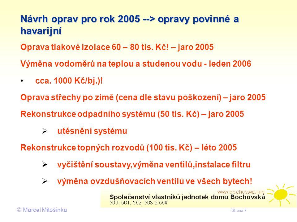 Návrh oprav pro rok 2005 --> opravy povinné a havarijní