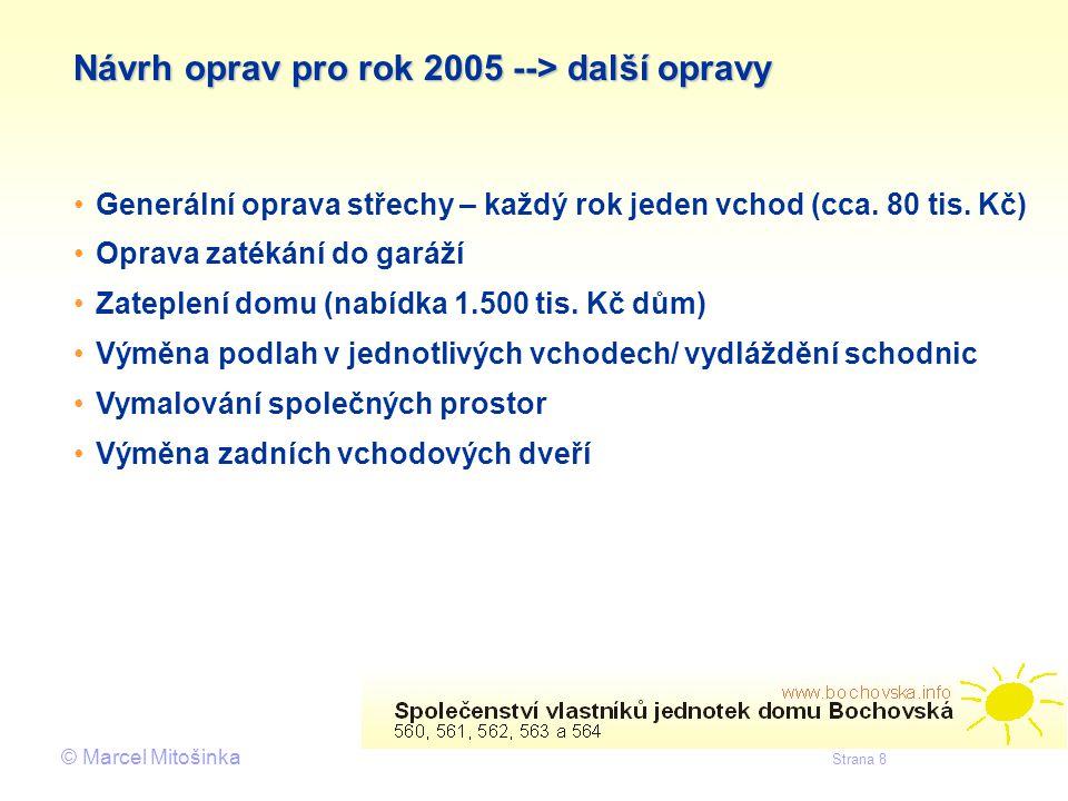 Návrh oprav pro rok 2005 --> další opravy