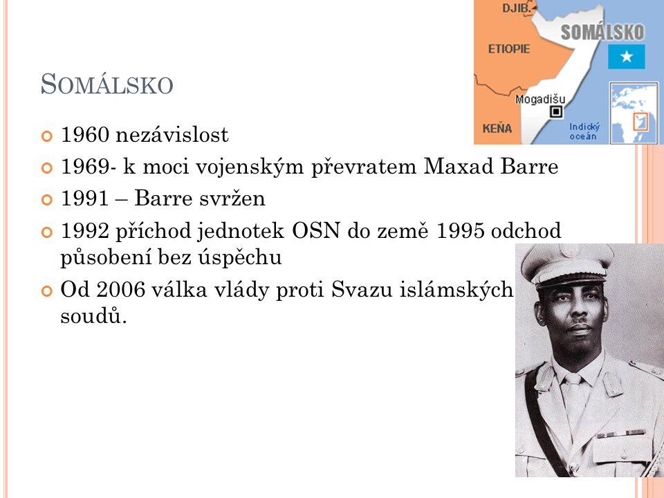 Somálsko 1960 nezávislost 1969- k moci vojenským převratem Maxad Barre