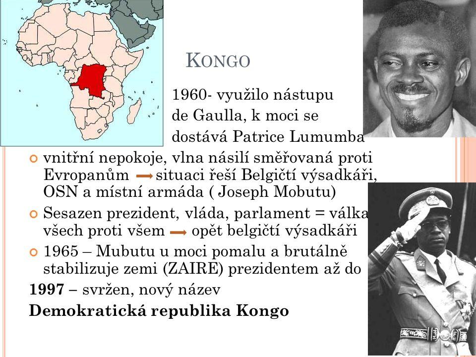 Kongo 1960- využilo nástupu de Gaulla, k moci se