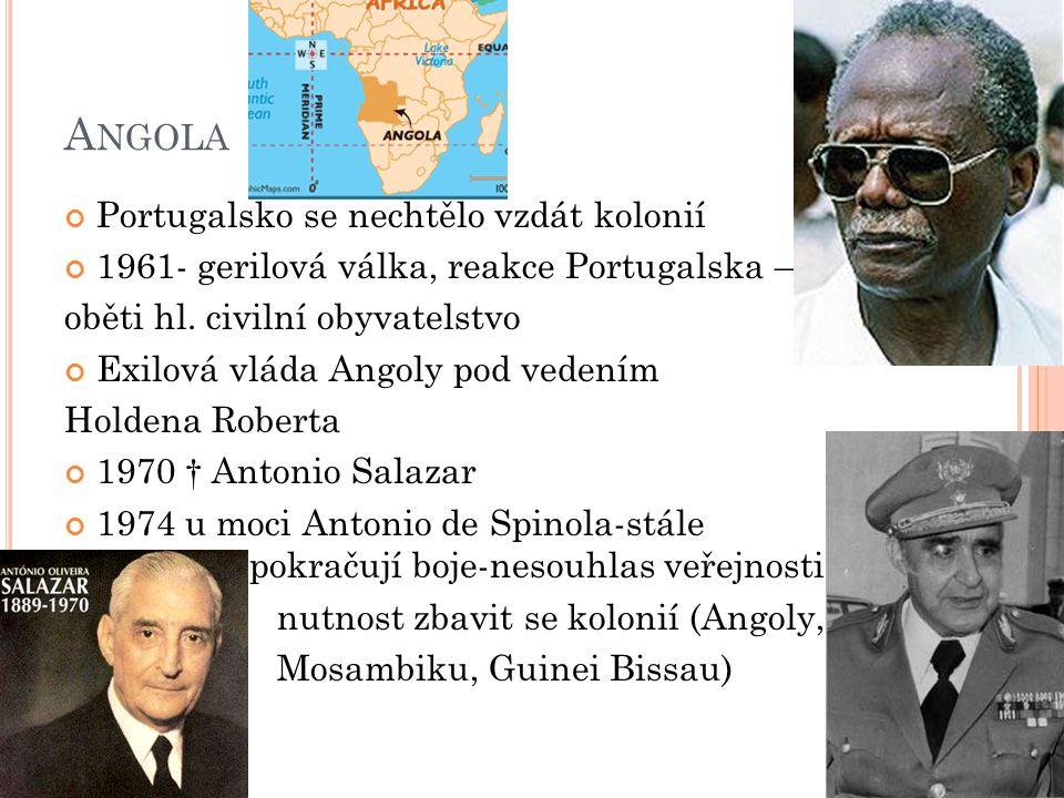 Angola Portugalsko se nechtělo vzdát kolonií