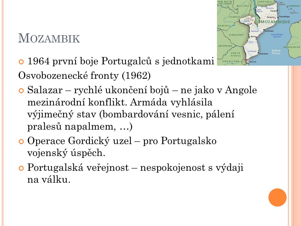 Mozambik 1964 první boje Portugalců s jednotkami