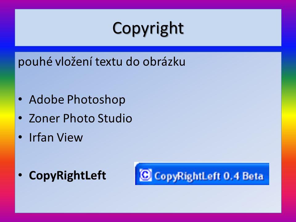 Copyright pouhé vložení textu do obrázku Adobe Photoshop