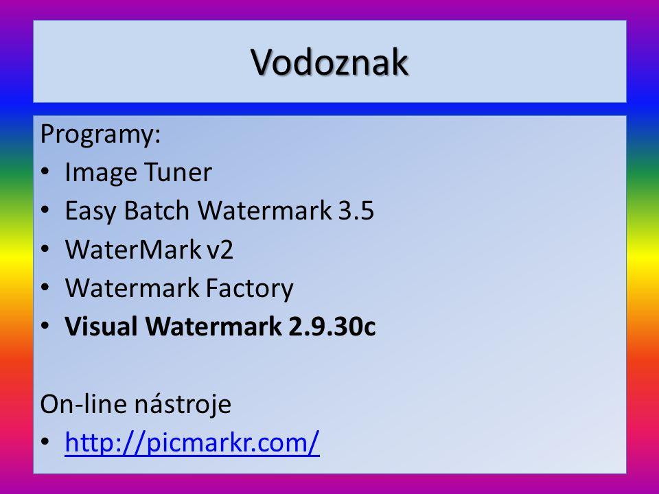 Vodoznak Programy: Image Tuner Easy Batch Watermark 3.5 WaterMark v2