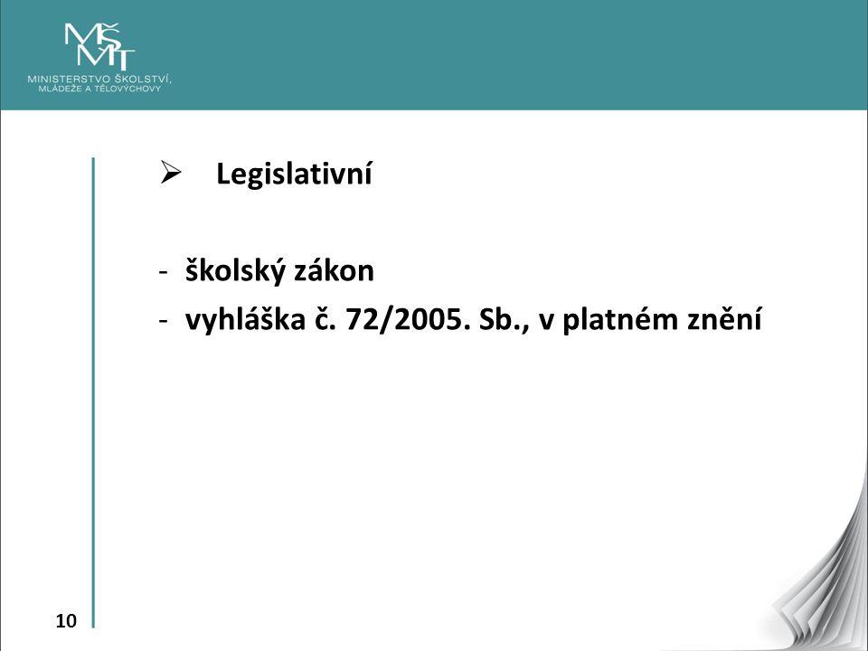 Legislativní školský zákon vyhláška č. 72/2005. Sb., v platném znění