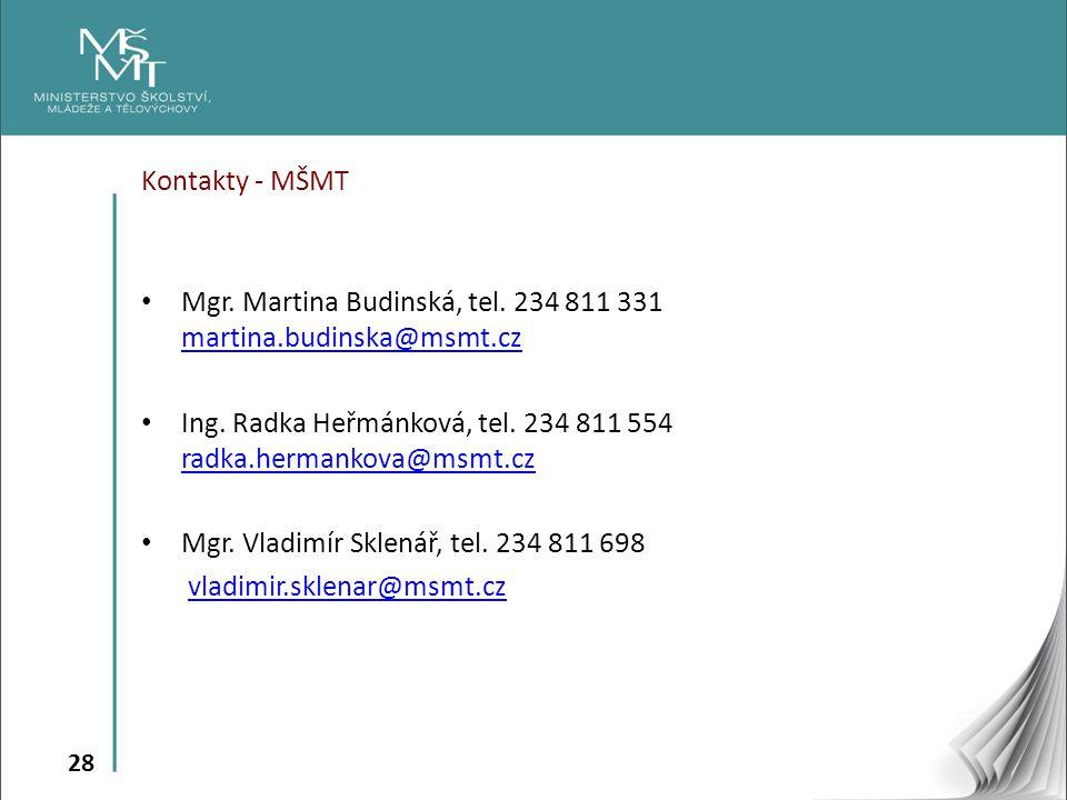 Kontakty - MŠMT Mgr. Martina Budinská, tel. 234 811 331 martina.budinska@msmt.cz. Ing. Radka Heřmánková, tel. 234 811 554 radka.hermankova@msmt.cz.