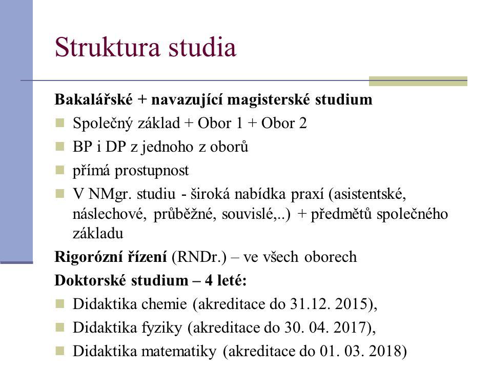 Struktura studia Bakalářské + navazující magisterské studium