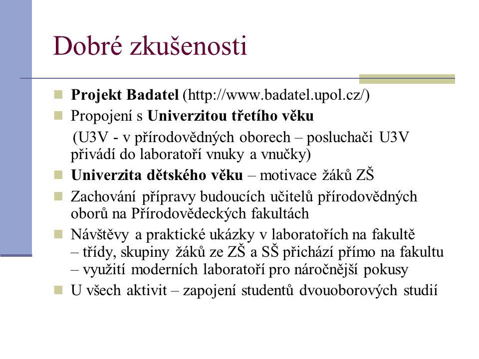 Dobré zkušenosti Projekt Badatel (http://www.badatel.upol.cz/)