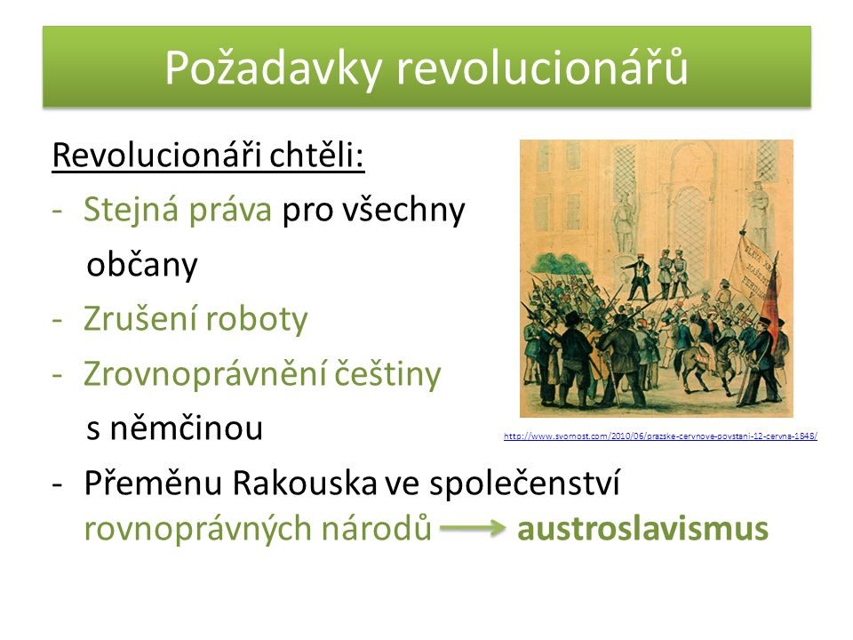 Požadavky revolucionářů